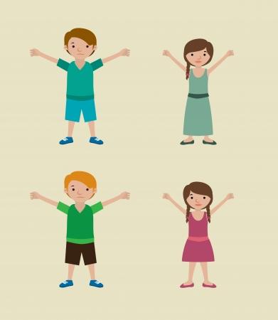 boy friend: kids design over beige background vector illustration