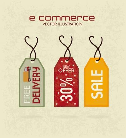 Diseño de comercio electrónico sobre fondo beige. ilustración vectorial Foto de archivo - 25249033