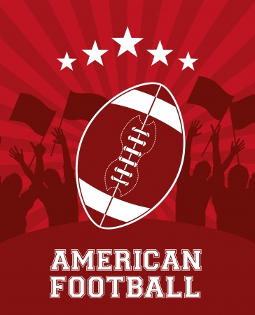 american football design over  red  background vector illustration  Vector