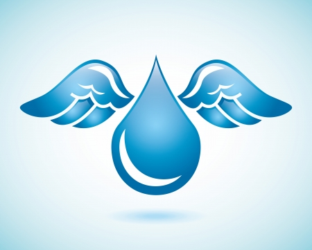 wet flies: water design over blue background vector illustration
