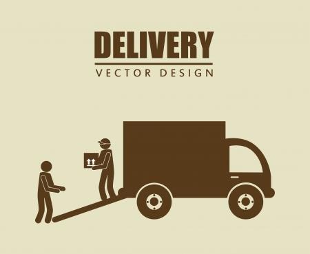 delivery service: free delivery over beige  background vector illustration