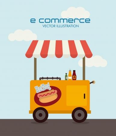 illustration of food: dise�o de comercio electr�nico sobre el fondo del cielo. ilustraci�n vectorial