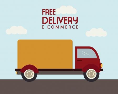 teherautók: ingyenes szállítás alatt ég háttér vektoros illusztráció
