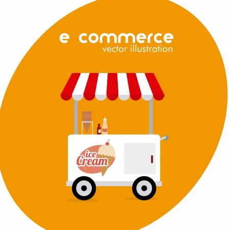 ecommerce design over  orange background. vector illustration Vector