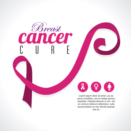 breast cancer over  gray background vector illustration Illustration