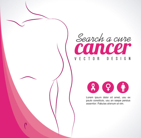 cancer: breast cancer over gray   background vector illustration
