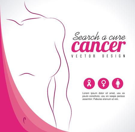 senos: c�ncer de mama sobre fondo gris ilustraci�n vectorial