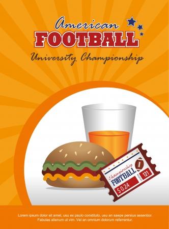 american food: american football design over  orange background vector illustration  Illustration