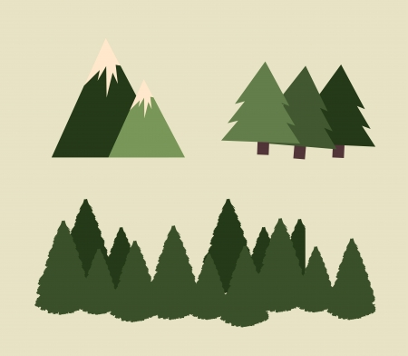 pine tree: camping design over beige  background vector illustration