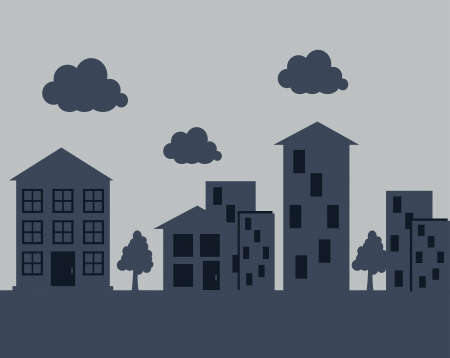 townscape: city design over gray background vector illustration
