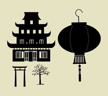 chinese temple: chinese temple over beige background vector illustration Illustration