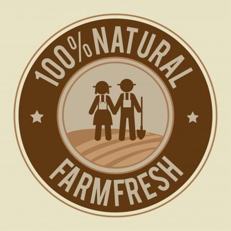peasant woman: farm design over  beige  background vector illustration