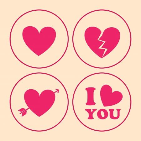 broken love: love design over  pink background vector illustration   Illustration