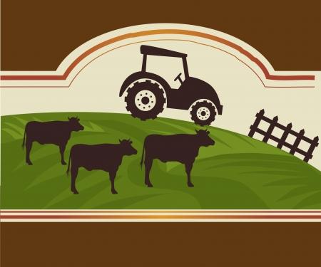 fond brun: conception de ferme sur fond brun illustration vectorielle
