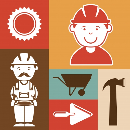 industrial workers over colors background vector illustration Vector