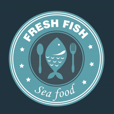 sea food design over black background vector illustration  Vector