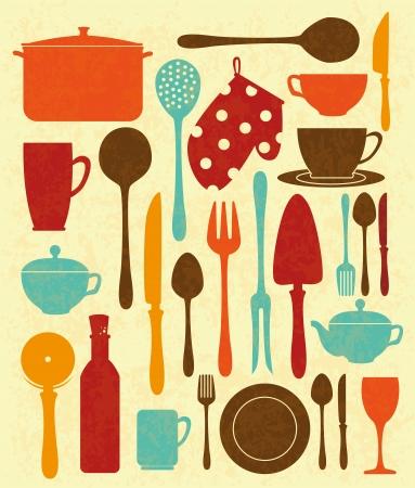 utensils: kitchen design over cream background vector illustration