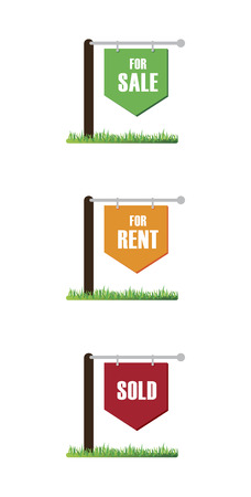 sold sign: real estate over  white background vector illustration