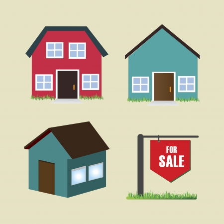 vastgoed over beige achtergrond vector illustratie Stock Illustratie