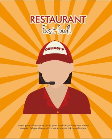 restaurant design over  orange background vector illustration     Vector