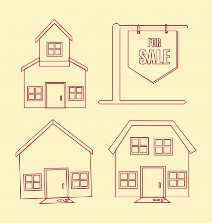 real estate over cream background vector illustration  Vector