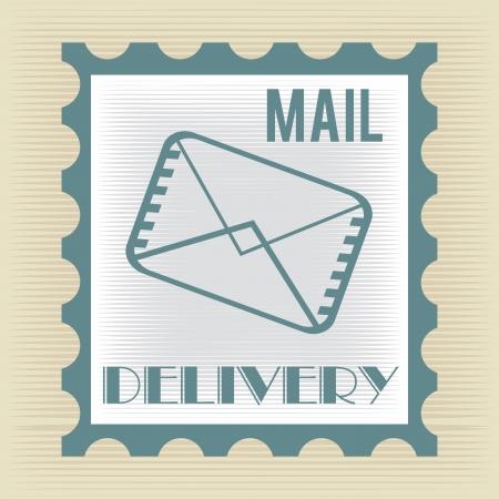 enveloped: delivery design over beige background vector illustration Illustration
