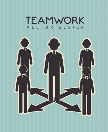teamwork design over  blue  background vector illustration  Vector