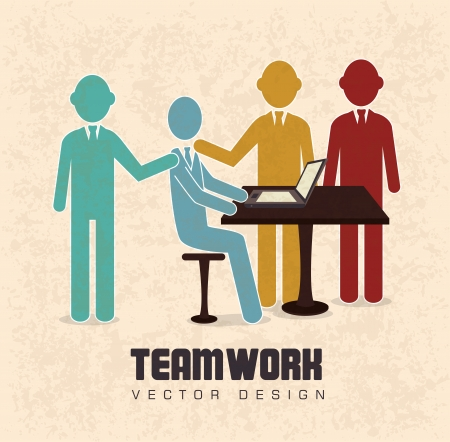 teamwork design over cream   background vector illustration  Vector