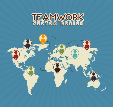 teamwork design over  blue  background vector illustration  Vector