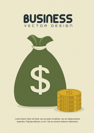 Bag of gold coins: business icon over beige background vector illustration Hình minh hoạ