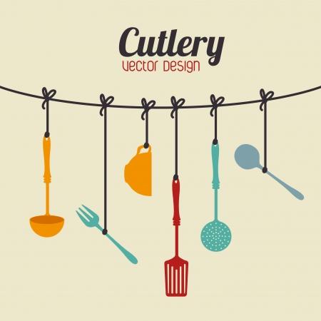 utencilios de cocina: dise�o de la cocina sobre fondo beige ilustraci�n vectorial Vectores