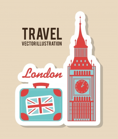 bigben: travel design over beige background vector illustration
