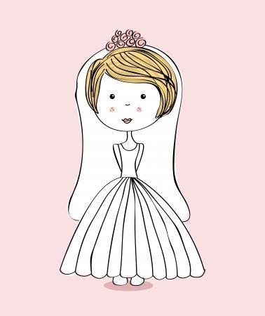 flushed: Beautiful woman over pink  background vector illustration Illustration