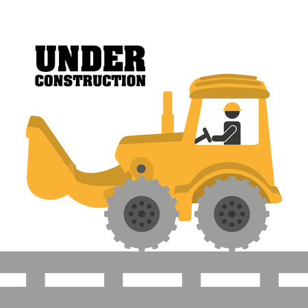 tractor warning: construction design over white background vector illustration