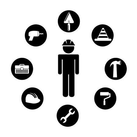 road worker: construction design over white background vector illustration