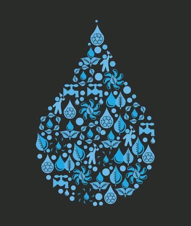 water design over black background vector illustration