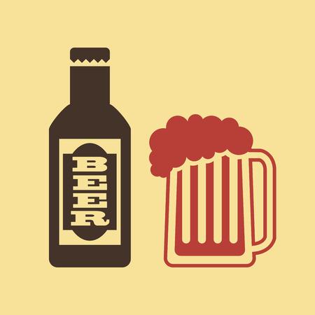 beer design over pink  background vector illustration   Vector