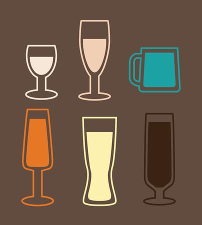 glases: beer design over brown   background vector illustration