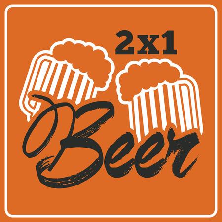 beer design over orange  background vector illustration   Vector