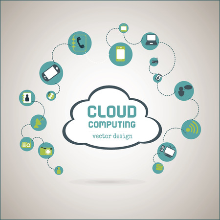 cloud computing over  gray background vector illustration Vector