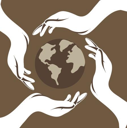 enviromental: eco design over brown background vector illustration Illustration