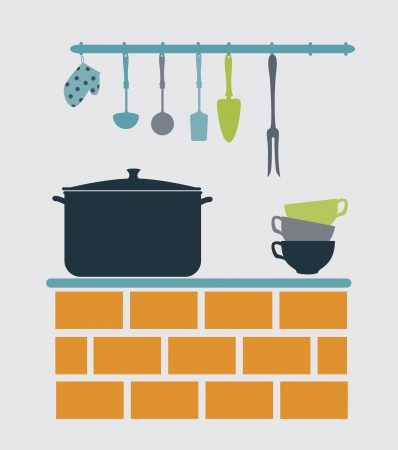 kitchen design over gray background vector illustration Vector