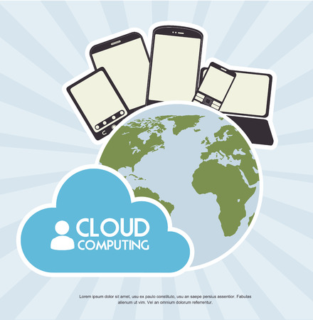 site map: cloud computing over blue  background vector illustration