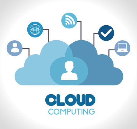 cloud computing over  gray background vector illustration Ilustração