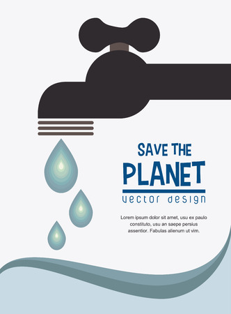 save the planet: eco design over blue background vector illustration