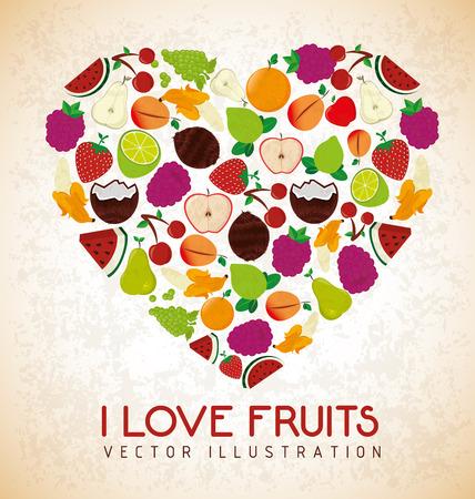 fruits design  over  pink  background vector illustration Vector