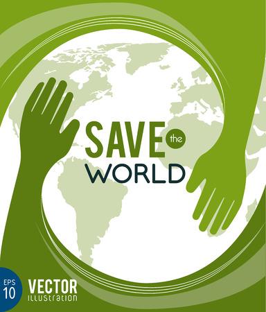 save the planet: eco design over green background vector illustration  Illustration