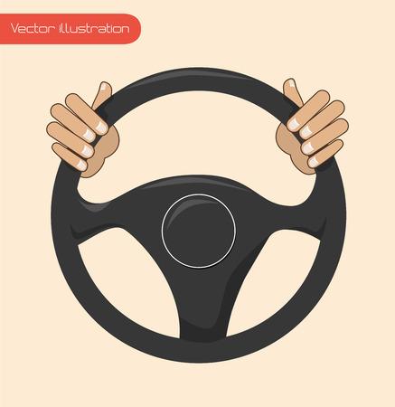 wheel car: steering wheel over background vector illustration Illustration