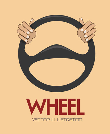 motorists: steering wheel over background vector illustration Illustration