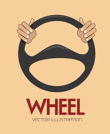 the motorists: steering wheel over background vector illustration Illustration